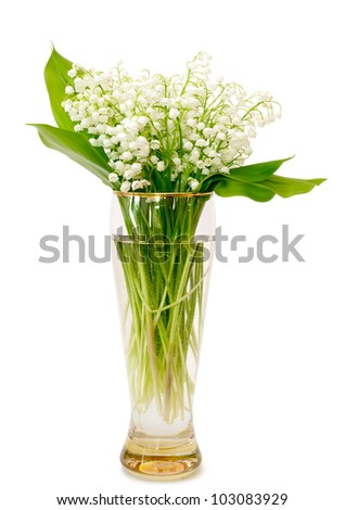 bouquet of lilies of the valley in glass vase on a white background - stock photo