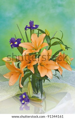 Bouquet of lilies with iris - stock photo