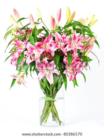 bouquet of lily flowers - stock photo