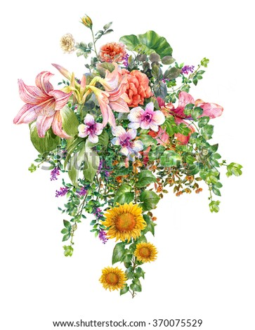 Bouquet of multicolored flowers watercolor painting on white background - stock photo