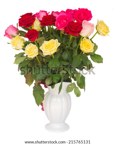 bouquet of  multicolored  roses in vase  isolated on white background - stock photo