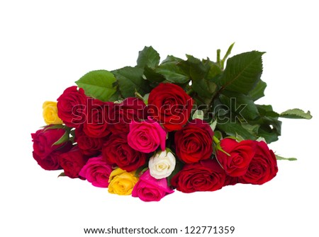 bouquet of multicolored roses isolated on white background - stock photo