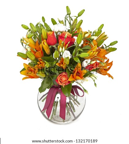 bouquet of orange lilias and roses in vase isolated on white - stock photo