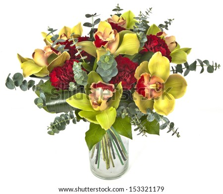 bouquet of orchids in vase  on white background - stock photo