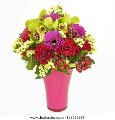 bouquet of orchids, roses and gerberas in vase isolated on white - stock photo