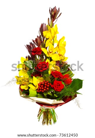 bouquet of orchids, roses and gerberas isolated over white background - stock photo