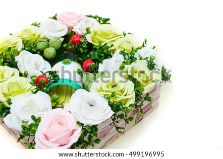 bouquet of paper flowers with chocolates inside. isolated on white background