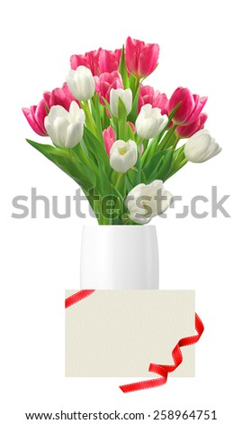 Bouquet of pink and white tulips in vase and card isolated on white background - stock photo