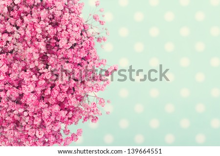 Bouquet of pink baby's flowers on turquoise dotted background with vintage editing - stock photo
