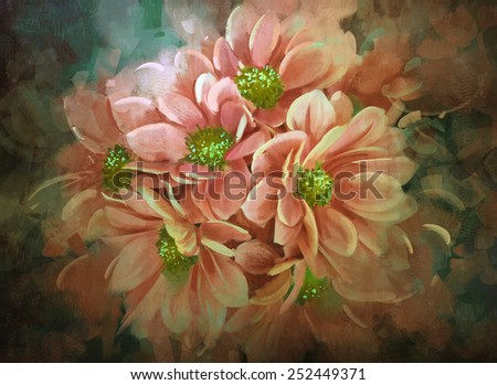 bouquet of pink chrysanthemum blooming.digital painting - stock photo