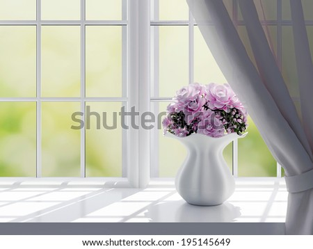 Bouquet of pink flowers (roses) on a windowsill. - stock photo