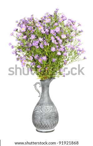 Bouquet of Pink New York Aster Flowers in Antique Vase Isolated on White Background