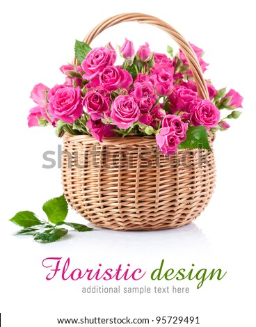 bouquet of pink roses in basket isolated on white background - stock photo