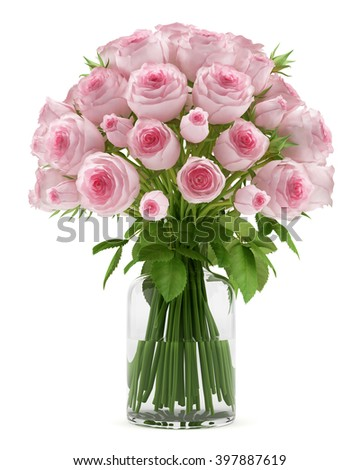 bouquet of pink roses in glass vase isolated on white background - stock photo