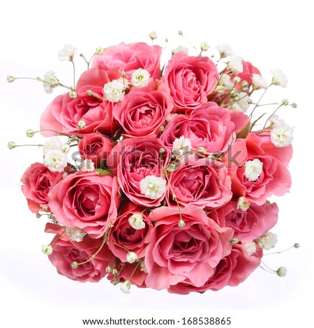 Bouquet of Pink Roses isolated on white background. Bridal bouquet - stock photo