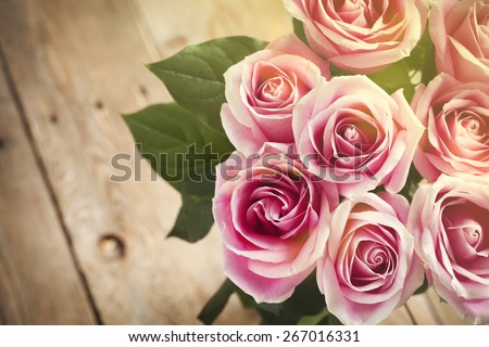 Bouquet of pink roses. Toned image - stock photo