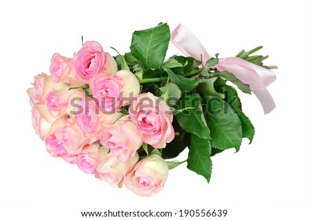 Bouquet of pink roses with silk bow isolated on white background