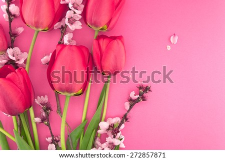 Bouquet of pink tulips and spring flowers on pink background with space for greeting message. Mother's Day and spring background concept - stock photo