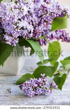 Bouquet of Purple Lilac. Selective focus - stock photo