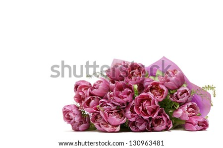 Bouquet of purple tulips - stock photo