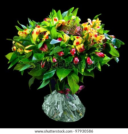 bouquet of red and yellow alstroemeria - stock photo