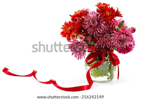 Bouquet of red flowers, chrysanthemums isolated on white background. - stock photo