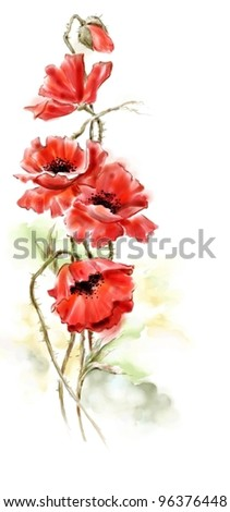 Bouquet of red poppies in the technician of a water color - stock photo