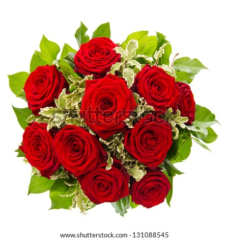bouquet of red rose flower isolated on white background - stock photo