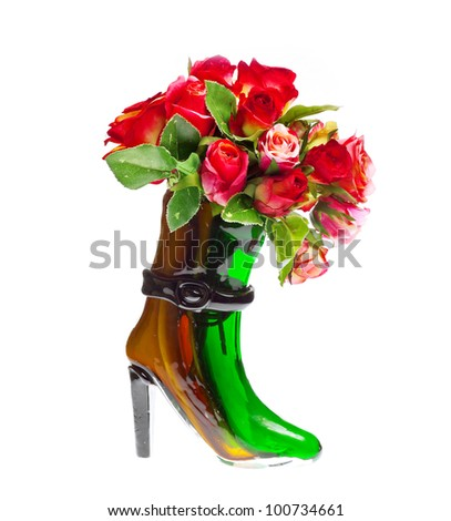 bouquet of red roses in the vase - stock photo