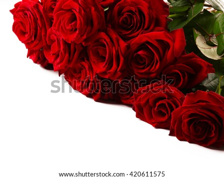 Bouquet of red roses isolated on white - stock photo