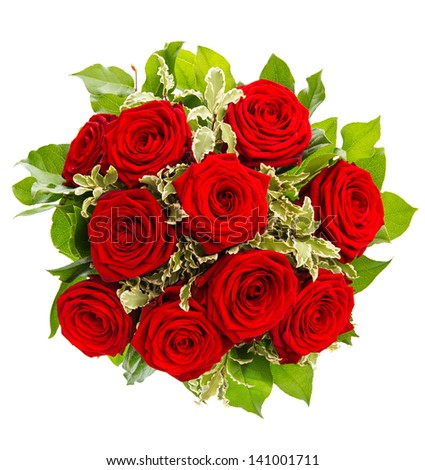 bouquet of red roses isolated on white background. flower arrangement - stock photo