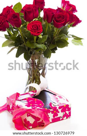 Bouquet of red roses on white backround. - stock photo