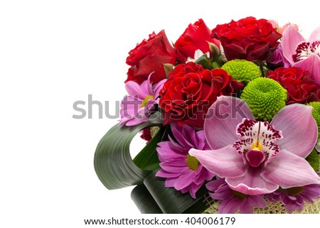 Bouquet of red roses, pink orchid and chrysanthemum