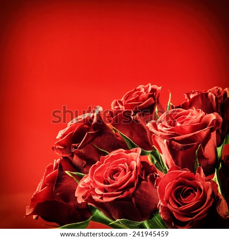 Bouquet of red roses. St Valentine's concept  - stock photo