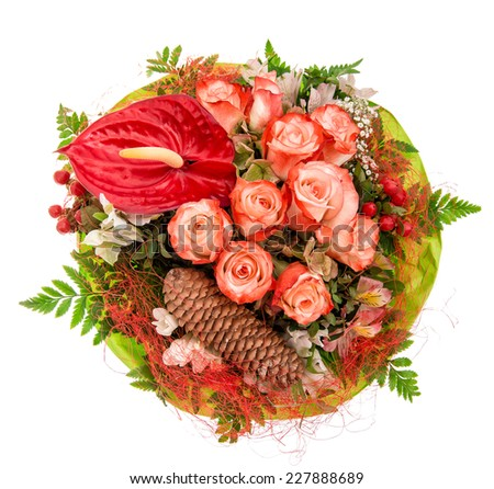 bouquet of red roses with decorations isolated on white background - stock photo