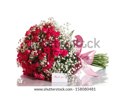 bouquet of red roses with gratitude on a white background - stock photo