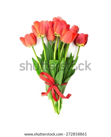 Bouquet of red tulips with red ribbon isolated on white background. Top view. - stock photo