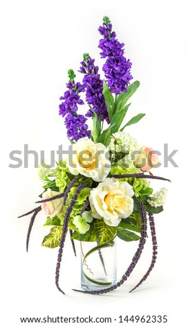 Bouquet of rose and lavender in glass vase isolated on white - stock photo