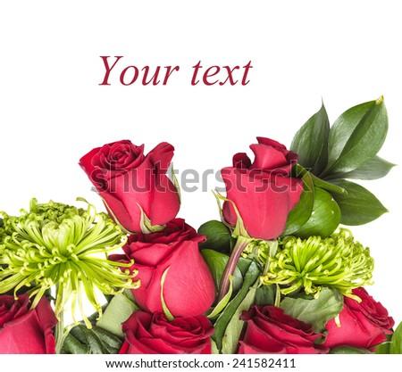 bouquet of rose, green chrysanthemum - stock photo