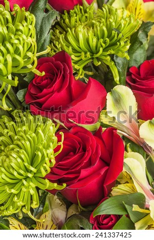 bouquet of rose, green chrysanthemum and orchid  - stock photo