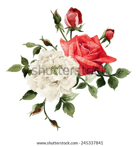 Bouquet of rose, watercolor, can be used as greeting card, invitation card for wedding, birthday and other holiday and  summer background  - stock photo