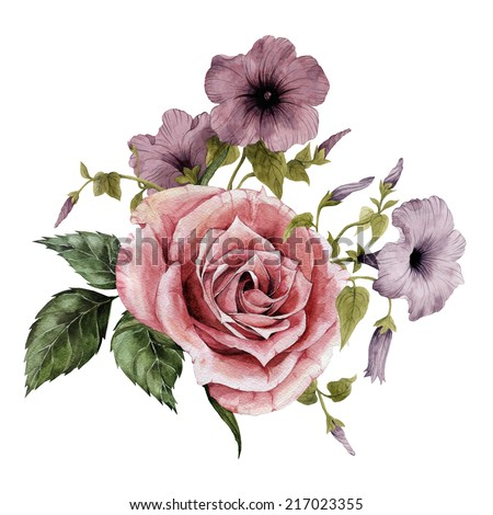 Bouquet of roses and convolvulus, watercolor, can be used as greeting card, invitation card for wedding, birthday and other holiday and  summer background - stock photo