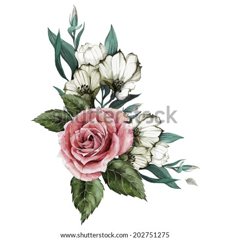 Bouquet of roses and eustoma, watercolor, can be used as greeting card, invitation card for wedding, birthday and other holiday and  summer background - stock photo