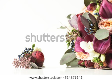 bouquet of roses and feces, large and small, isolated on white background.