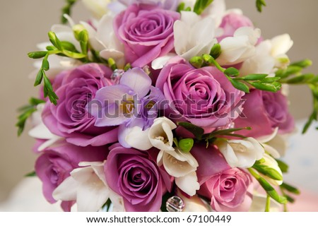 bouquet of roses and freesias - stock photo