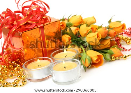 Bouquet of roses and gift  - stock photo