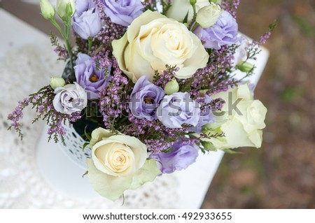 bouquet of roses and lavender flowers