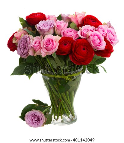 bouquet of roses and ranunculus  in vase isolated on white background - stock photo