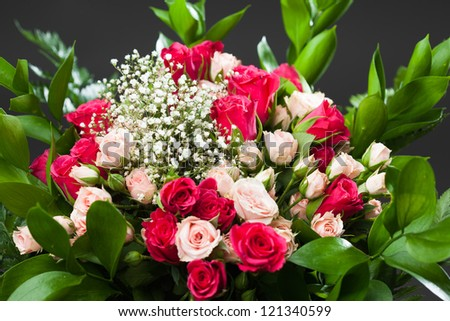 bouquet of roses, close-up view - stock photo