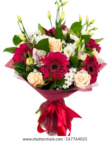 Bouquet of roses, gerberas and orchids isolated on white background - stock photo